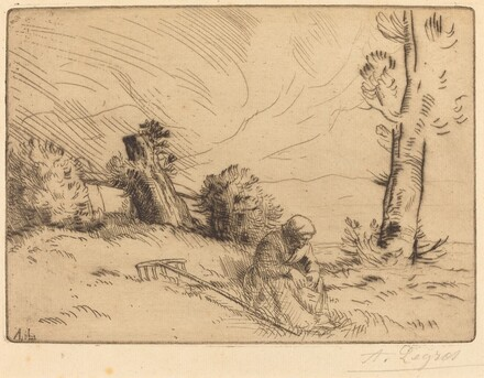 Peasant Woman Seated near a Hedge (Paysanne assise pres d'une haie)