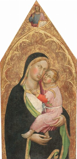 Madonna and Child, with the Blessing Christ [middle panel]