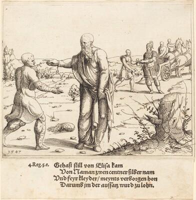 Elisha Punishes Gehazi with Naaman's Leprosy