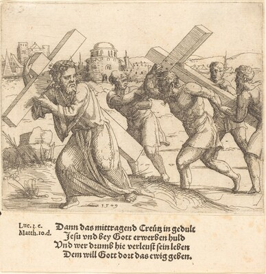 Man Carries the Cross after Christ