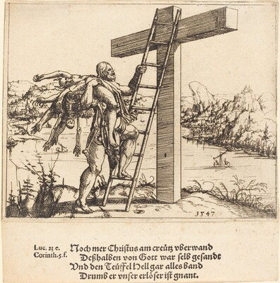 Christ Ascending the Cross with Sin, Death, and the Devil
