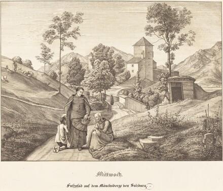Mittwoch - Fusspfad auf dem Mönchsberge bey Salzburg (Wednesday - Footpath on the Mönchsberge near Salzburg)
