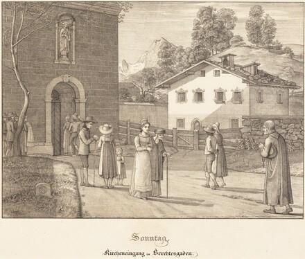 Sonntag - Kircheneingang in Berchtesgaden (Sunday - Going to Church near Berchtesgaden)