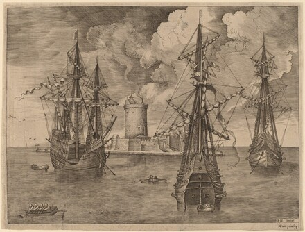 Four-Master (Left) and Two Three-Masters Anchored near a Fortified Island with a Lighthouse