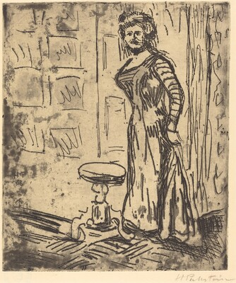 Woman Standing by a Door