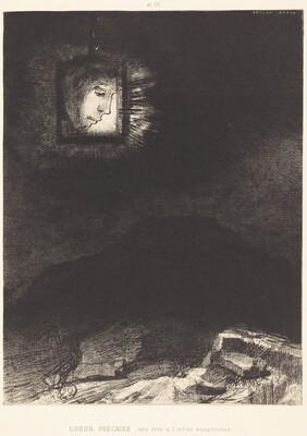 Lueur precaire, une tete a l'infini suspendue(Precarious glimmering, a head suspended
