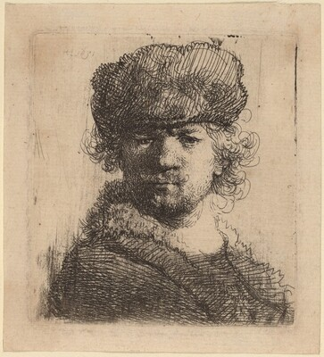 Self-Portrait in a Heavy Fur Cap