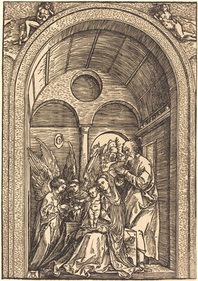 The Holy Family with Two Angels in a Vaulted Hall