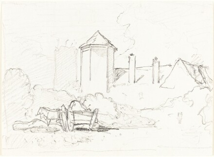 Sketch of Buildings with Cart and Horses in Foreground