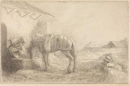 Man Watering a Horse (Homme abreuvant un cheval)