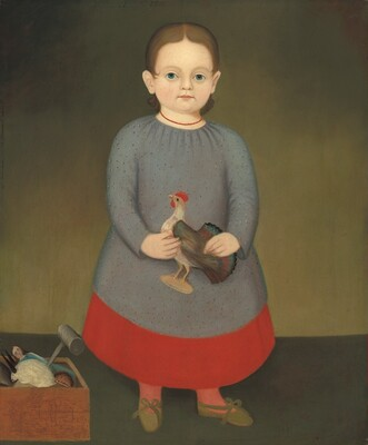 Girl with Toy Rooster