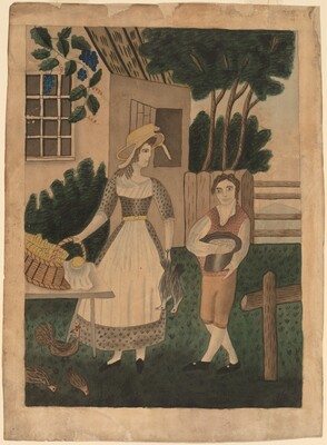 Woman and Boy with Provisions
