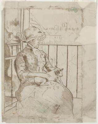 Susan on a Balcony Holding a Dog [verso]