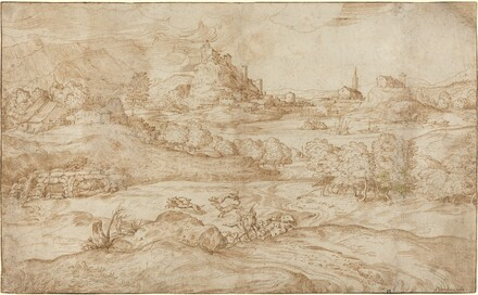 Landscape with Shepherds Driving Away a Wolf