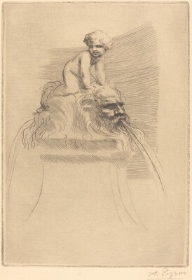 Small Fountain, Child Playing on the Grotesques (Petite fontaine, enfant qui joue surdes masques)