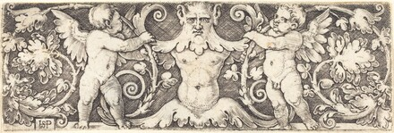Ornament with Male Half Figure Between Two Genii