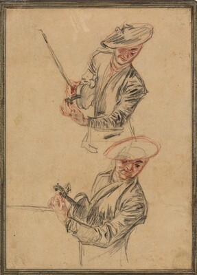 Two Studies of a Violinist Tuning His Instrument