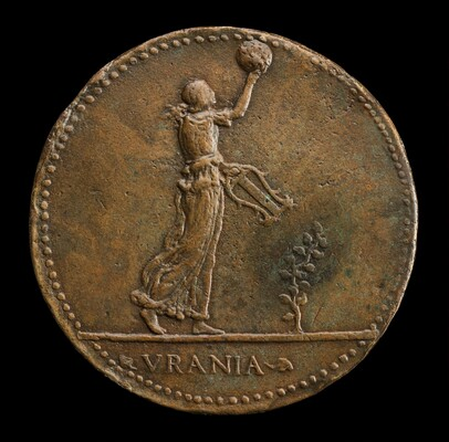 Urania Walking to Right, Holding a Globe and Lyre [reverse]