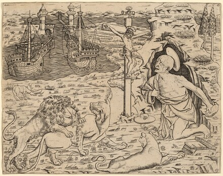 Saint Jerome in Penitence, with Two Ships in a Harbor