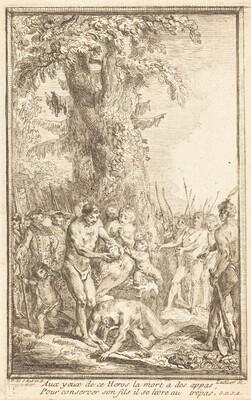 Heroic Act of a Father Who Sacrifices for His Son (Trait heroique d'un pere qui se sacrifie pour son fils)