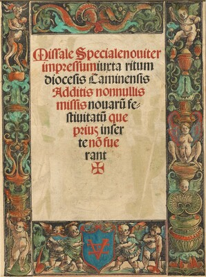 Title Page for a Missal,  with Satyr and Putti Border [verso]