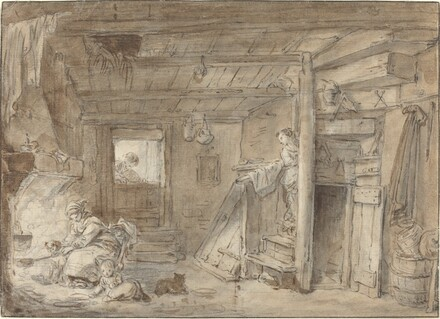 Interior of a Farmhouse with Figures