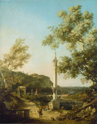 English Landscape Capriccio with a Column