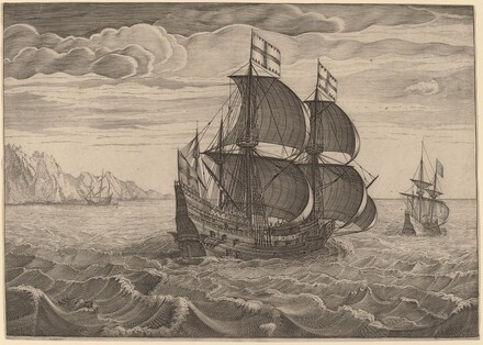 Ship in Full Sail with Two Flags