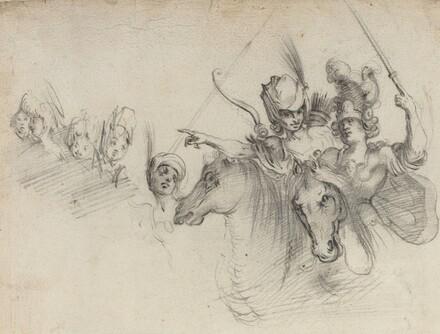 Figures on Horseback [verso]