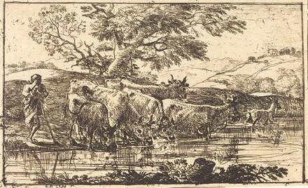 The Herd at the Watering Place (Le troupeau a l'abreuvoir)