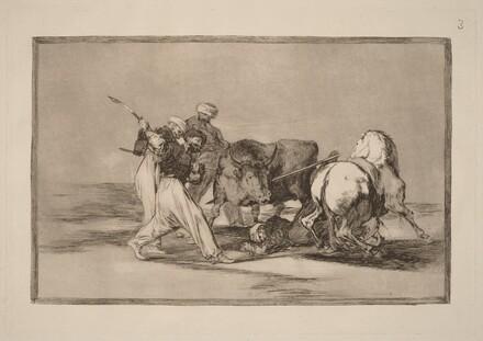 Los moros establecidos en Espana, prescindiendo de las supersticiones de su Alcoran, adoptaron esta caza y arte, y lancean un toro en el campo  (The Moors Settled in Spain, Giving up the Superstitions of the Koran, Adopted This Art of Hunting, and Spear a Bull in the Open)