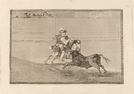 Un caballero espanol en plaza quebrando rejoncillos sin auxilio de los chulos (A Spanish Mounted Knight in the Ring Breaking Short Spears without the Help of Assistants)