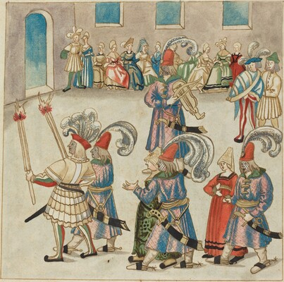 Two Dancing Couples Led by Torch-bearing Knights
