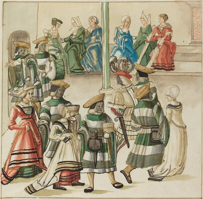 Three Dancing Couples Led by Two Knights in Room with Column