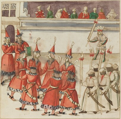 Seven Men in Red Gathered in a Circle