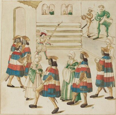 Men in Red, White and Blue Dancing with  Their Partners