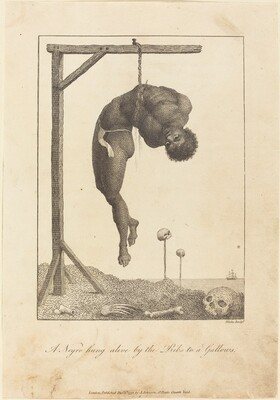 A Negro hung alive by the Ribs to a Gallows