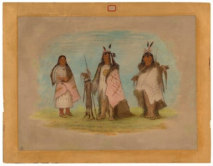 Two Blackfoot Warriors and a Woman