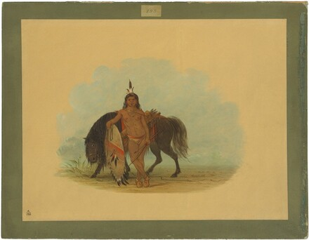 A Cheyenne Warrior Resting His Horse