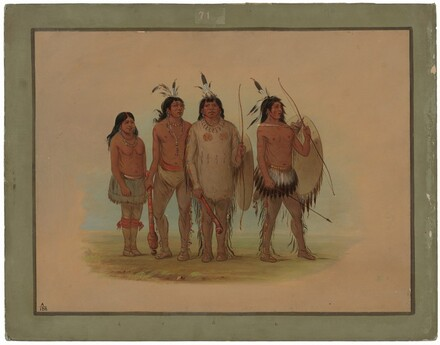 Kiowa Chief, His Wife, and Two Warriors
