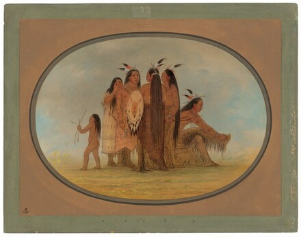 Four Mandan Warriors, a Girl, and a Boy