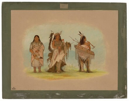 Omaha Chief, His Wife, and a Warrior