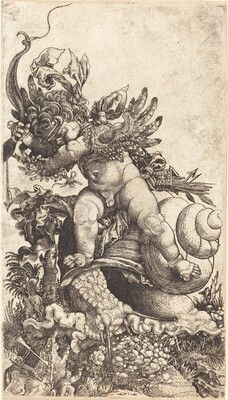 Cupid Riding a Snail over Fungus Vegetation