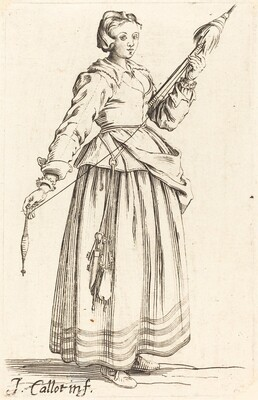 Young Woman with Distaff, Facing Right