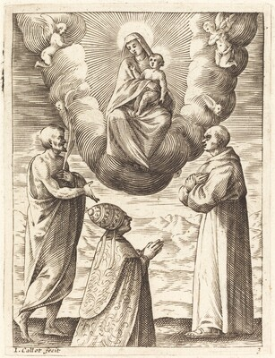 Boniface VIII with Saints Francis and CrispinAdoring the Virgin and Child
