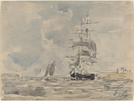 Seascape with Sailing Vessel