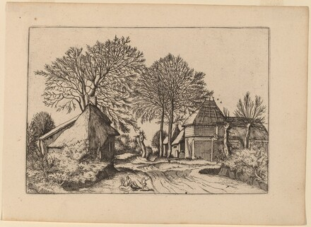 Road with Barn and Cottages