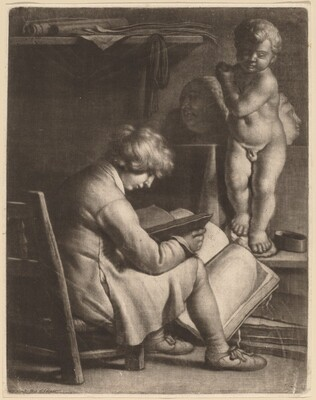 Young Man with a Statue of Cupid