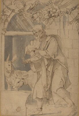 Study for One of Two Stained Glass Paintings Representing the Nativity