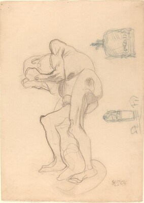 Study of a Nude Old Woman Clenching Her Fists, and Two Decorative Objects
